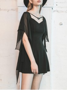Gothic Female Black High Waist Bat Sleeve Star Elastic Dress