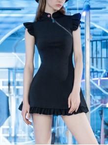 Steam Punk Female Black Lotus Leaf Hem Chinese Cheongsam Rose Dress