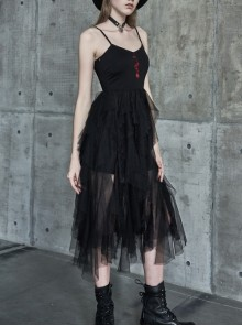 Steam Punk Female Black Rose Mesh Stitching Long Dress