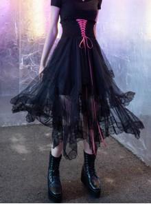 Steam Punk Female Black Mesh Stitching Pink Binding Long Skirt