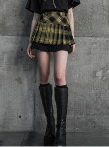 Steam Punk Female Black Yellow Lattice Double Layers Pleated Skirt
