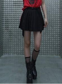 Steam Punk Female Casual Black Strap Buckle Pleated Skirt