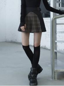 Steam Punk Female Black Brown Lattice Stitching High Waist Skirt