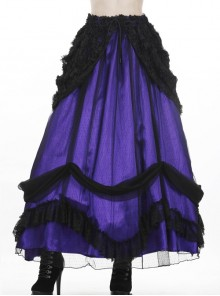 Purple Gothic Lace-Up Lace Mesh Frill Satin Long Skirt