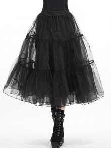 Black Gothic Lolita Long Lace Mesh Underskirt