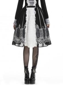 Gothic Lolita White Lace Black Print Skirt
