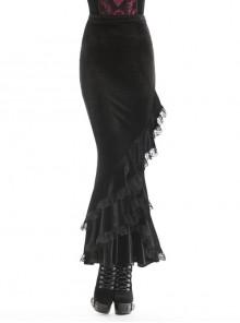 Lace Frill Lace-Up Black Gothic Velvet Long Skirt