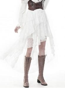 White Lace-Up Lace Mesh Irregular Frill Hem Punk Skirt