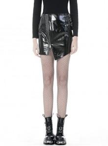 Metal Buckle Irregular Hem Black Punk Shining PU Skirt