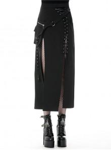 Hollow-Out Metal Eyelets Lace-Up Metal Buckle Strap Black Punk Irregular Slit Hem Long Skirt