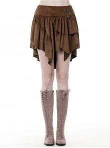 Metal Decoration Irregular Frill Hem Brown Punk Short Skirt