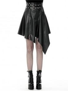 Metal Ring Leather Belt Side Zipper Irregular Frill Hem Black Punk PU Skirt