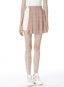 Hollow Out Belt Pink Checked  Punk Pleated Short Skirt