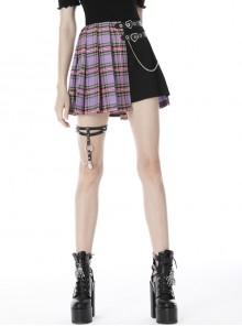 Side Metal Hasp Chain Purple Checked Splice Black Punk Pleated Short Skirt