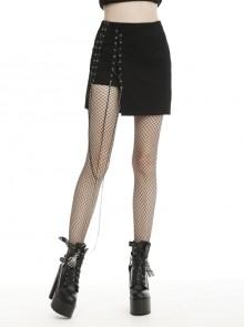 Side Metal Eyelets Rope Up Black Punk Mini Skirt