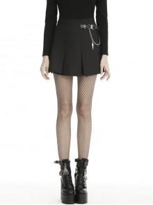 Metal Chain Decorative Leather Belt Black Punk Pleated Mini Skirt