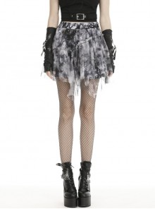 Lace Hem Grey Print Punk Mini Skirt