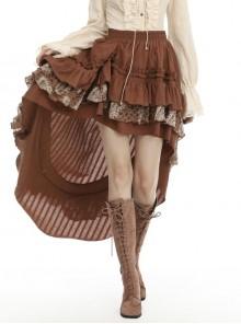 Irregular Frilly Brown Punk Skirt