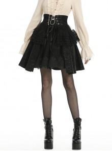 Front Waist Metal Retro Button Lace-Up Lace Layered Black Punk Short Skirt