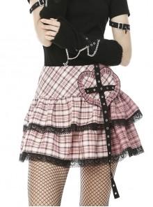 Metal Eyelets Strap Heart-Shaped Frill Lace Hem Pink Punk Pleated Short Skirt
