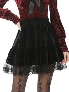 Lace Mesh Hem Black Gothic Velvet Short Skirt
