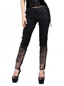 Side Lace-Up Plum Pattern Embroidered Black Punk Leather Pants