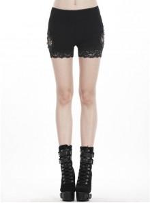 Black Side Splice Mesh Punk Knitted Short Legging