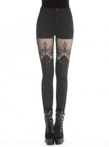 Black Gothic Thigh Splice Embroidery Mesh Legging