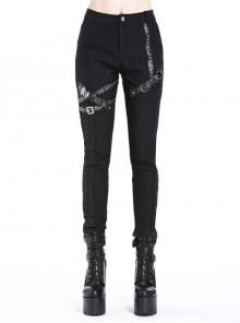 Metal Eyelets Leg Loop Side Lace-Up Black Punk Leather Stripe Trousers