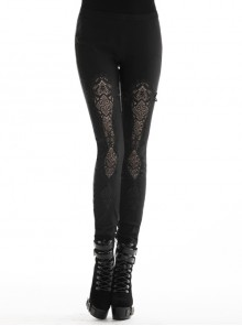 Black Gothic Front Splice Embroidery Mesh Back Lace-Up Legging