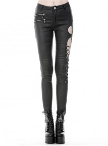 Metal Hasp Side Hollow-Out Lace-Up Black Punk Tight Leather Trousers