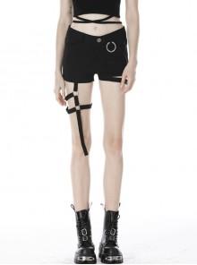 Metal Ring Decoration Metal Buckle Leg Loop Black Punk Short Pants