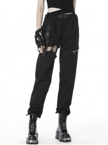 Irregular Hollow Thigh Metal D-Buckle Strap Black Punk Casual Trousers
