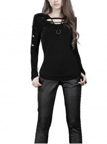 Round Collar Front Chest Hollow-Out Long Sleeve Black Punk Tight T-Shirt