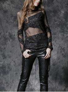 Black Punk Tore Semi-Transparent Long Sleeve T-Shirt