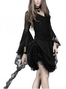 V-Neck Flare Sleeve Black Gothic Transparent Lace T-Shirt