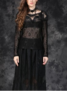 One-Word Front Chest Three-Dimensional Embroidery Lace Long Sleeve Black Gothic T-Shirt