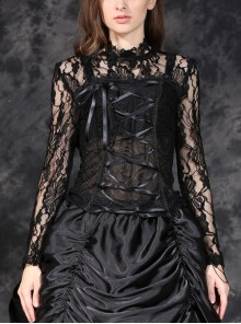 Black Gothic Front Chest Lace-Up Jacquard Hollow-Out Lace T-Shirt