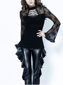 Small High Collar Front Chest Lace-Up Flare Sleeve Black Gothic Jacquard Hollow-Out Lace T-Shirt
