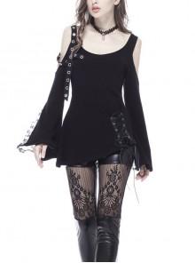 Off-Shoulder Metal Eyelets Strap Back Lace-Up Flare Sleeve Lace Cuff Black Punk T-Shirt