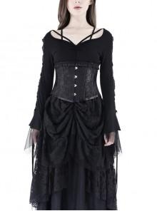 Bandage Collar Lace-Up Long Sleeve Lace Cuff Black Gothic T-Shirt