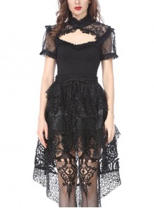 Lace High Collar Bubble Sleeve Backless Black Gothic Knit T-Shirt