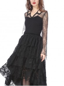 Back Lace-Up Lace Bat Sleeves Black Gothic Knit Halter T-Shirt