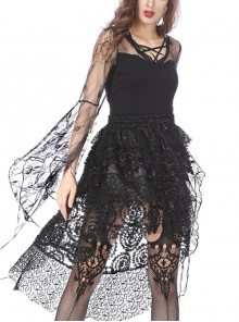 Front Lace-Up Transparent Lace Big Sleeves Black Gothic T-Shirt