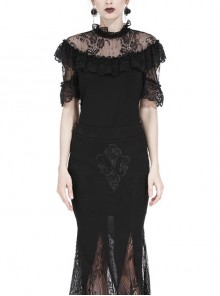 Lace Collar Front Chest Frill Short Sleeve Black Gothic Knit T-Shirt