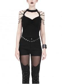 Off-Shoulder Metal Eyelets Belt Shoulder Strap Black Punk Halter T-Shirt