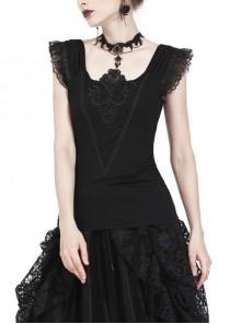 One-Word Shoulder Lace Cuff Front Chest Embroidery Decals Black Gothic Knit T-Shirt