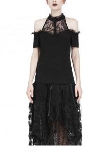 Lace High Collar Off-Shoulder Short Sleeve Black Gothic T-Shirt