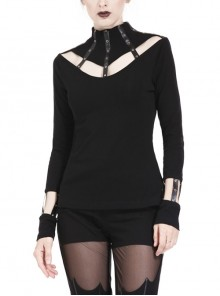 High Collar Front Chest Hollow-Out Metal Eyelets Strap Long Sleeve Black Punk T-Shirt