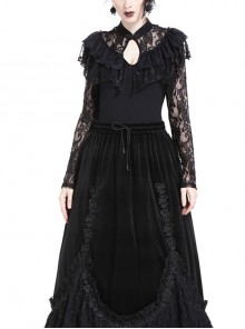 High Collar Front Chest Hollow-Out Lace Frill Long Sleeve Black Gothic T-Shirt
